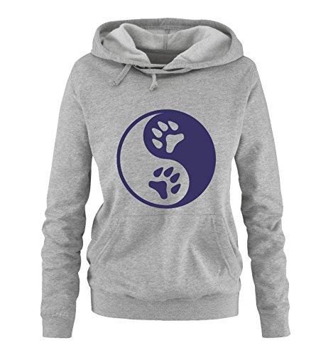 Comedy Shirts - Yin Yang - Pfote 2 - Damen Hoodie - Grau/Lila Gr. XL