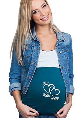 Mamaband Schwangerschaft Bauchband Unser kleines Wunder für die Babykugel, Petrol, Gr.- 38-42/M