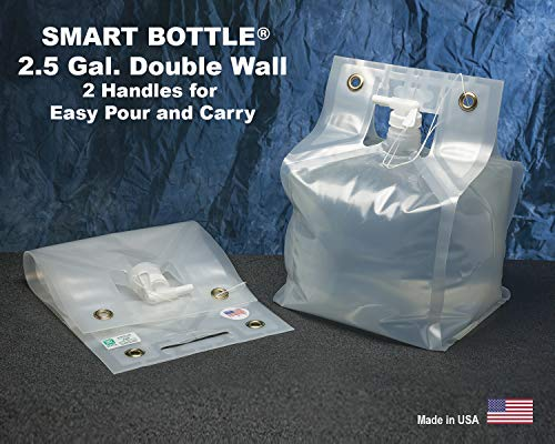 Smart Bottle 2.5 Gallon/10 Liter Collapsible Water Container with White 8mm Spout. The only Double Wall Flexible Container Designed with Handles top and Bottom for Easy Carry. BPA Free.