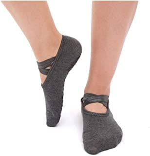 QWERBAM, QWERBAM Mujeres Anti Slip Vendaje Deportes Yoga Calcetines señoras de ventilación Pilates Ballet Danza Calcetines Zapatillas calcetín (Color : Gray)