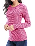v28 Women Crew Neck Knit Stretchable Elasticity Long Sleeve Sweater Jumper Pullover (Small,Pink2)