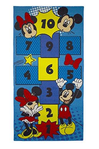 Kinder Teppich Kinderteppich mit Mickey Mouse - Micky Maus - Hüpfteppich - Zahlen Teppich - 80 x 160 cm