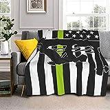 Manta de lana de cordero con la bandera americana, manta de piel de zorro plateada, ultrasuave, para sofá, cama, hombres, mujeres y bebés