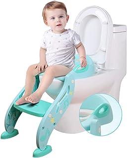 FCDWHJ Klappbar T/öpfchentrainer Pedal H/öhenverstellbar,Kinder-T/öpfchen Toilettensitz mit Weichem PU-Kissen,Trainer Sitz f/ür Kinder Toiletten Training mit Rutschfest Leiter,Blue
