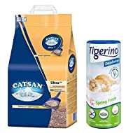 Catsan Ultra Clumping Cat Litter 30L Absorbent And Economical For Clean And Dry Tray With Tigerino D...
