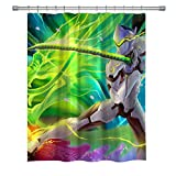 ELITE Overwatch E-Sports Shower Curtains, Polyester Fabric Shower Curtain for Bathroom, 3D Print Decor Shower Curtain Set with Hooks, 71X 71 in