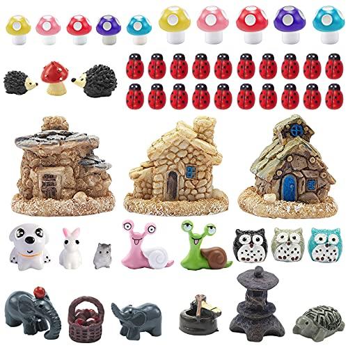 44 Pieces Miniature Fairy Garden Accessories, Including Miniature Fairy Garden House, DIY Dollhouse Ornaments Kits Fairy Garden Decor, Fairy Garden Figurines Fairy Garden Animals for House Decor