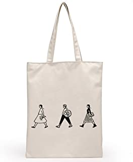 Bullidea Canvas Tote Bags Large Cotton Tote Shopping Bag Students Tote Shoulder Bags Handbag with Zipper Eco-Friendly