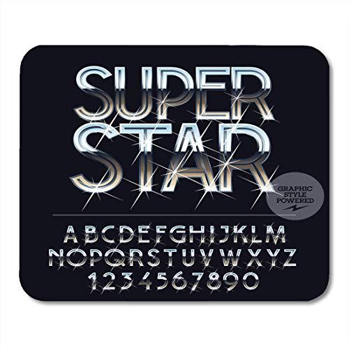 Mausmattenauflage, Sternmetall Silber funkelnd Hochglanz der Buchstaben Symbole und Zahlen Alphabet Sparkle Wunderbare Mausmatte für die Urlaubsarbeit,25x30cm