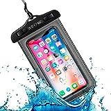 Funda Impermeable Móvil Universal IPX8 con Bolsa Sumergible Agua Estanca Acuática Playa   iPhone 12 XR XS X SE 11 9 8 7 6s Plus Samsung S20 plus A71 Xiaomi Mi 10 Huawei P30 BQ Aquaris (Negro)