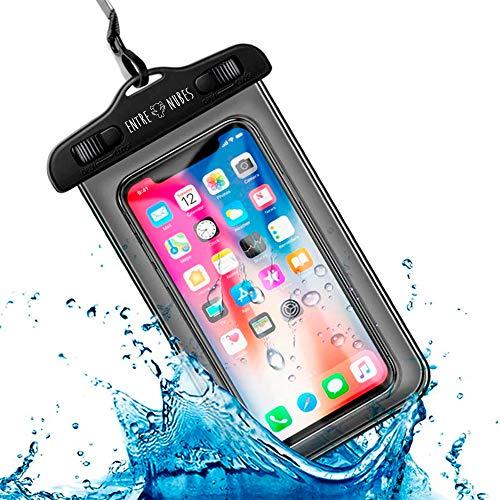 Funda Impermeable Móvil Universal IPX8 con Bolsa Sumergible Agua Estanca Acuática Playa | iPhone 12 XR XS X SE 11 9 8 7 6s Plus Samsung S20 plus A71 Xiaomi Mi 10 Huawei P30 BQ Aquaris (Negro)