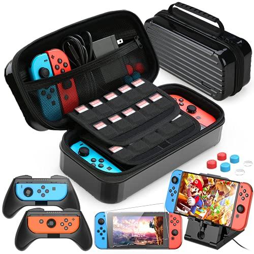 HEYSTOP 11 en 1 Funda Compatible con Nintendo Switch, Estuche portátil Incluye 2 Grips para Nintendo Switch, PlayStand Ajustable, Protector de Pantalla con 6 Tapas de Agarre para Pulgar