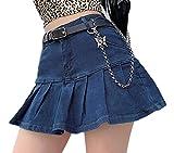 Ladies Fashion Pocket Solid Color Elastic High Waisted Jean Stylish Denim Short Mini Skirt (Blue, M)