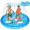 "WOWGO Sprinkler & Splash Play Mat for Kids, Upgraded 68"" Colourful Splash Pad, Summer Inflatable Outdoor Water Sprinkler Toys Wading Swimming Pool Splash pad for 1-12 Years Old Children Boys Girls"