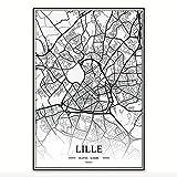 JYWDZSH Leinwanddruck Lille France City Maps Leinwandbilder
