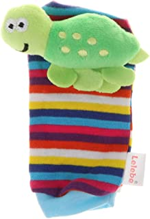 Perfeclan Baby Socks Sensory Toys for Babies Foot-Finder Socks Jingle - Sea Turtle, as described