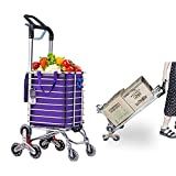 FASSTUREF Carrello portascale Portatile, Carrello della Spesa Pieghevole con Doppia Maniglia, Carrello della Spesa Leggero con Ruote girevoli