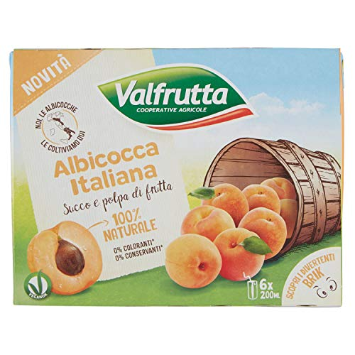 Valfrutta Succo e Polpa d'Albicocca, Confezione da 6 x 200ml