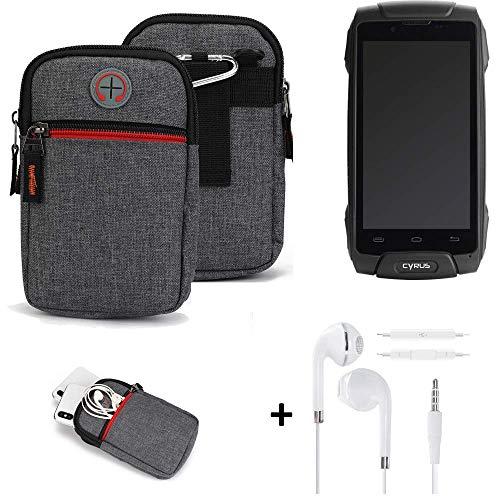 K-S-Trade® Gürtel-Tasche + Kopfhörer Für Cyrus CS 30 Handy-Tasche Schutz-hülle Grau Zusatzfächer 1x