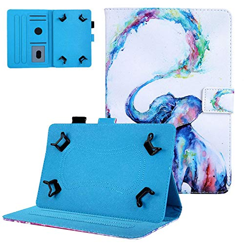 8.0 inch Tablet Case, UGOcase Cute Animal Universal Protective PU Leather Stand Wallet Case for 7.9' 8.0' 8.5' Fire HD 8,Galaxy Tab E 8.0/Tab A 8.0/Tab S2 8.0,iPad Mini 1/2/3/4,ect, Painting Elephant