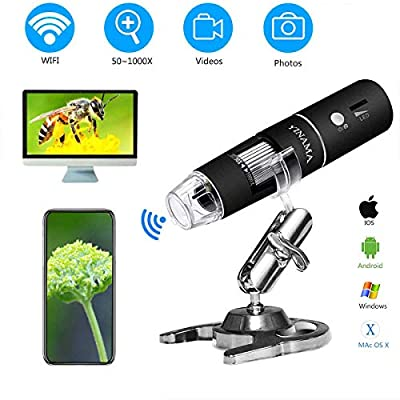 Wireless Digital Microscope,YINAMA 50x to 1000x Magnification Microscope Camera,8 LED Mini Pocket Handheld Microscopes with 1080P 2MP, Compatible with iPhone Android, iPad MAC Windows