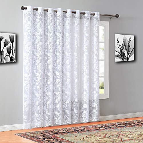 """WARM HOME DESIGNS Extra Wide 102"""" x 84"""" White Color Knitted Lace Patio or Sliding Door Curtains. 16 Grommets Total. Chic, Free Flowing Design at Affordable Price. LI White Patio 84"""""""