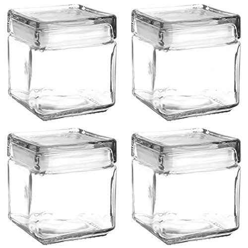 Set of 4 Anchor Hocking Stackable Glass Storage Jars Containers Airtight Seal Food Storage Canister 1-Quart