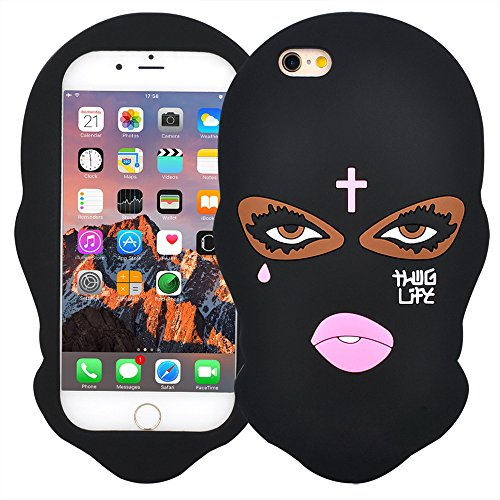 VERYLULU Case for iPhone 7 Plus and iPhone 8 Plus (2017) Goon Thug Life 3D Cute Cartoon Big Eyes Woman Face Masked Teared Girl Jesus Christian Cross Soft Silicone Protective Shockproof Coque Cover