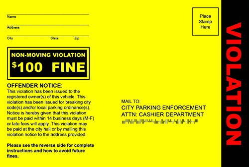 Patriot Web Design Fake Parking Tickets - Pack of 100