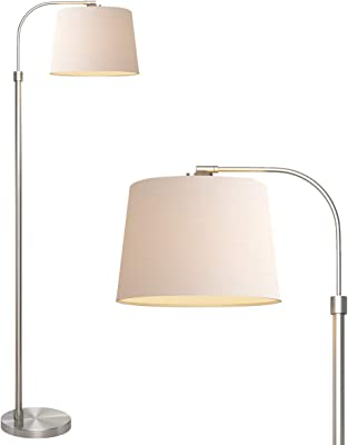 Modern Arc Floor Lamp Satin Nickel White Flower Shade For