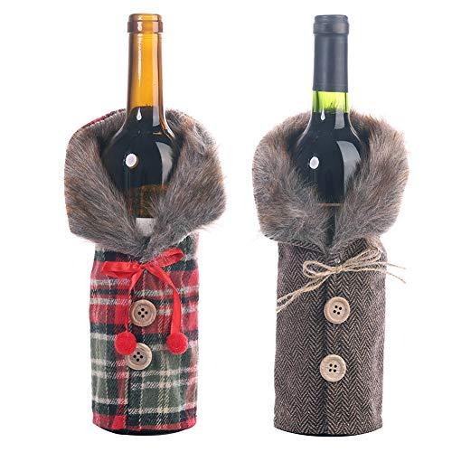 mnoMINI 2 x weihnachtliche Weinflaschenhülle für Weingläser, Weihnachten, gestreift, Gitter für Champagner, Weingläser, Tisch, Weihnachtsdeko, Erntedankfest, 2pcs