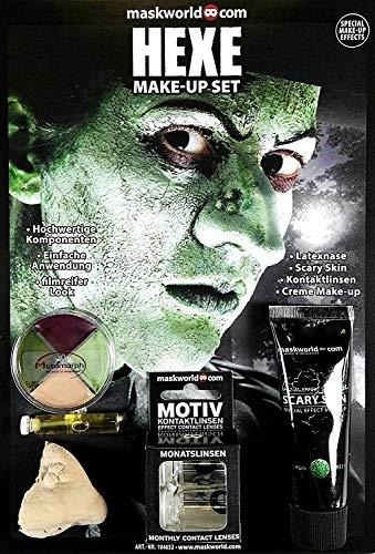 Hochwertiges Halloween Schminke Komplett-Set Hexe mit perfekt abgestimmten Komponenten - Make-Up - Hexennase - Scary Skin - Kontaktlinsen