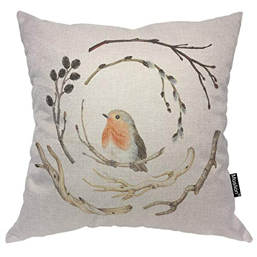 nonbrand Pillows Nature Cute Animal Robin Bird on Winter Bear Tree Branch Throw Pillow Cover Decorative Pillow Case Square Cushion Accent Cotton Linen Home 18x18 Inch