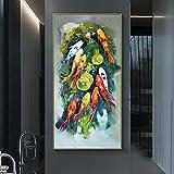 PLWCVERS Pintura al óleo de Pescado Impresa en Lienzo, Carteles de Animales Koi, imágenes artísticas de Pared para Sala de Estar, Pinturas Modernas para decoración del hogar / 50x100 cm (sin Marco)