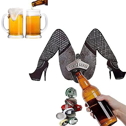 Abrebotellas Vintage con Patas Divertidas, Abridor de Botellas de Cerveza de Metal con Diseño de Pared, Abridor de Botellas de Cerveza Retro Accesorios para Bar, KTV, Hogar, Cocina, Fiesta (A)