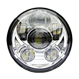 Wisamic 5-3/4 5.75 pollice LED Headlight compatibile con Harley Davidson Dyna Street Bob Super Wide Glide Low Rider Night Rod Train Softail Deuce Custom Sportster Iron 883-argento