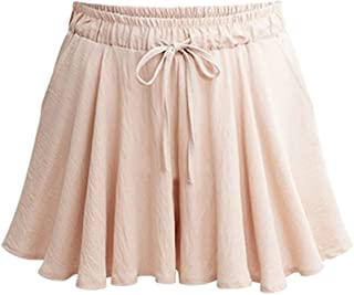 Women's Elastic Waist Casual A Line Culottes Wide Leg Shorts with Drawstring