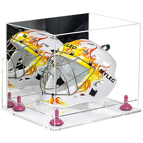 Better Display Cases Acrylic Full-Size Lacrosse/Hockey/Catchers Mask Display Case with Mirror, Pink Risers, Clear Wall Mount and Clear Base (V44)