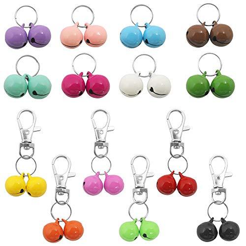 YuCool 28 Pack Haustiere Katzenhalsband Glocken, Stärkste und Lauteste Hundehalsband Glocken für das Töpfchentraining, Bunte Katzen- und Hundezauberglocken für Halsbänder Halskette Anhänger -14 Paare