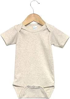 Laughing Giraffe Baby Infant Blank Short Sleeve Onesie Bodysuit (3-6M, Oatmeal)