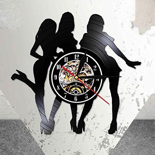YINU Girl Night Light Lámpara Reloj Amistad Reloj de Pared Hecho de Disco de Vinilo Real Diseño Moderno Mujeres Buen Amigo Arte Colgante Negro