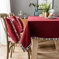 クリスマステーブルクロス、ジャカード波状の防水テーブルクロス、防滴しわのない洗えるテーブルリネン、装飾的なカバーの休日のパーティーキッチンダイニング(赤),赤,100*160cm