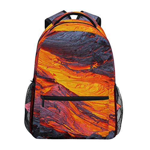 DXG1 Lava Magma Backpack Women Men Teen Girl Boy School Bag Purse Bookbag Casual Daypack Supplies