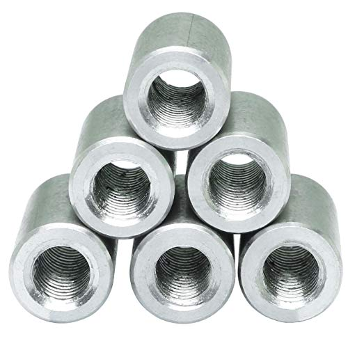 PSCCO 6pcs 304 Stainless Steel Round Connector Nut Threaded Cylindrical Lengthen Nut Sleeve Rod Stud Nuts M6