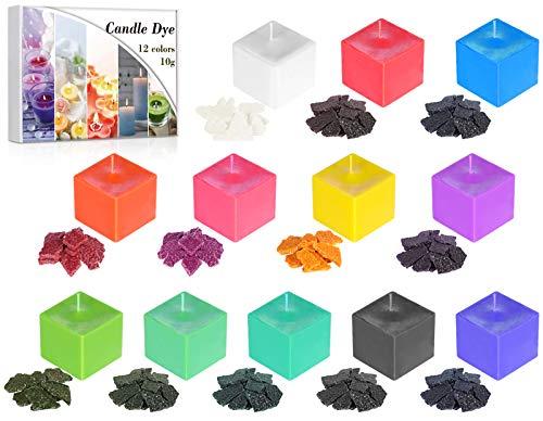 AJOXEL 12 Colores Tintes para Velas DIY Tinte de Cera Kit Materiales para Hacer Velas para Cera de Soja/Parafina/Cera de Abejas - 10 g / 0.35 oz Fabricación de Jabón y Velas Colores para Adultos