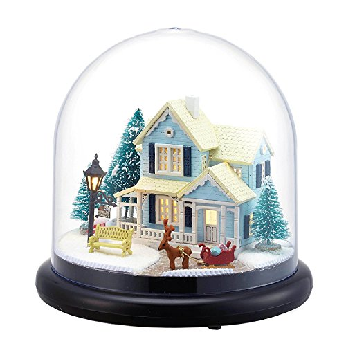 Architecture Model Building Kits with Furniture LED Music Box Miniature Wooden Dollhouse Fairy Tale Series 3D Puzzle Challenge