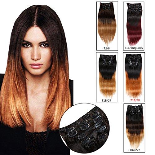 """Viviabella Clip Extensions de cheveux tête complète cheveux humains droite Blond cuivre rouge bordeaux ombré 70 G- 160 g 20,3 cm -28 """""""