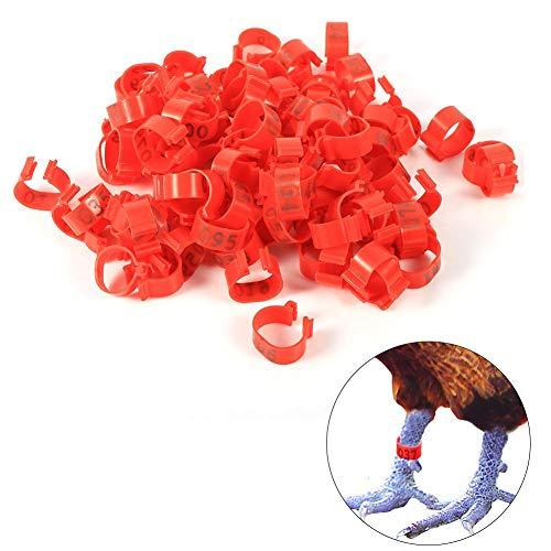 HEEPDD 6 Kleuren 100 Stks/Tas 16 MM 001-100 Genummerde Plastic Gevogelte Kippen Eenden Gans Been Ringen Clip-On Pluimvee Identificatie Band, Rood