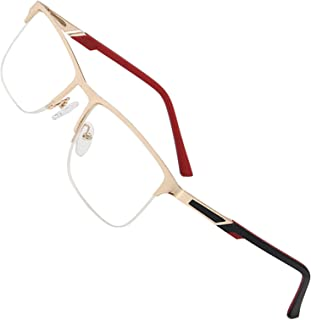Blue Light Blocking Reading Glasses,Half-rim Metal Rectangle Frame Readers with Spring Hinges for Men/Women (Color : +300)
