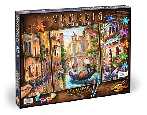 Schipper 609260736 - Malen nach Zahlen - Venedig, die Stadt in der Lagune - Bilder malen für Erwachsene, inklusive Pinsel und Acrylfarben, Triptychon 50 x 80 cm